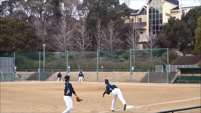塁間送球を行う選手