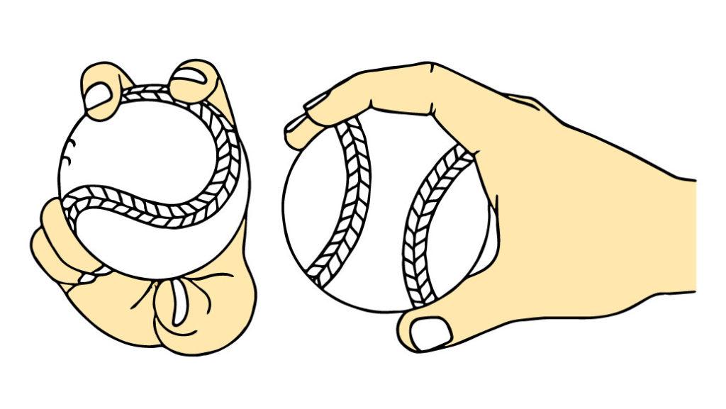 ボールの握り方のイラスト