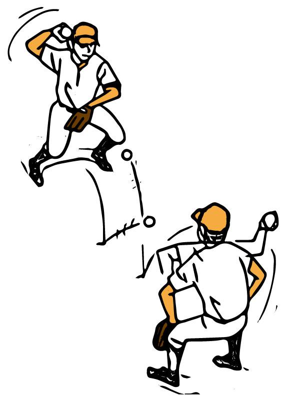腰を落としてボールを投げ合う選手2人