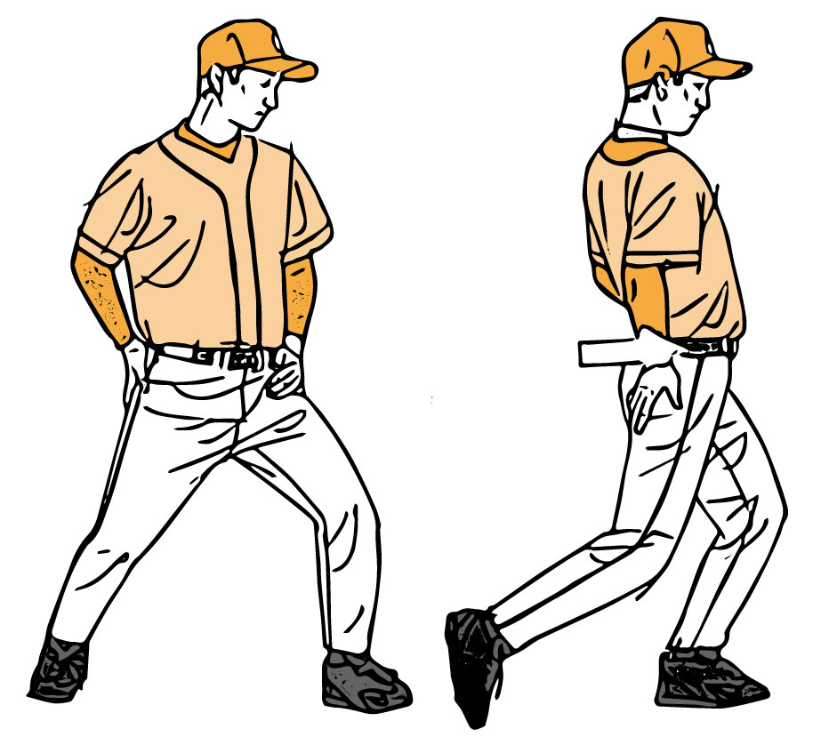 骨盤トレーニングの動きをする選手