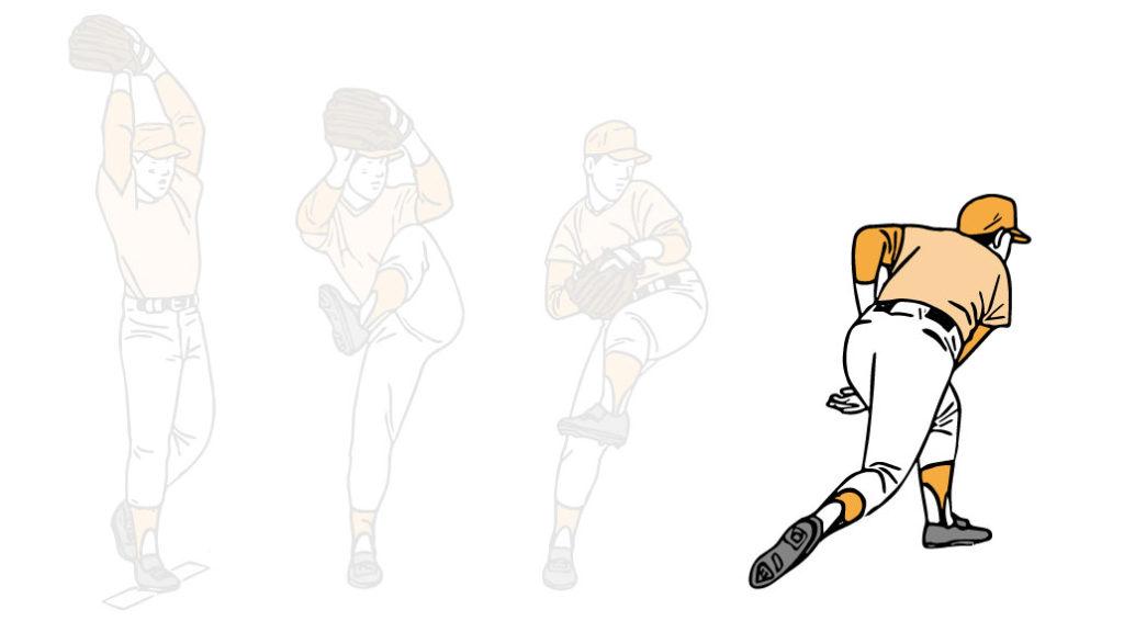 ボールをリリースするピッチャーのイラスト