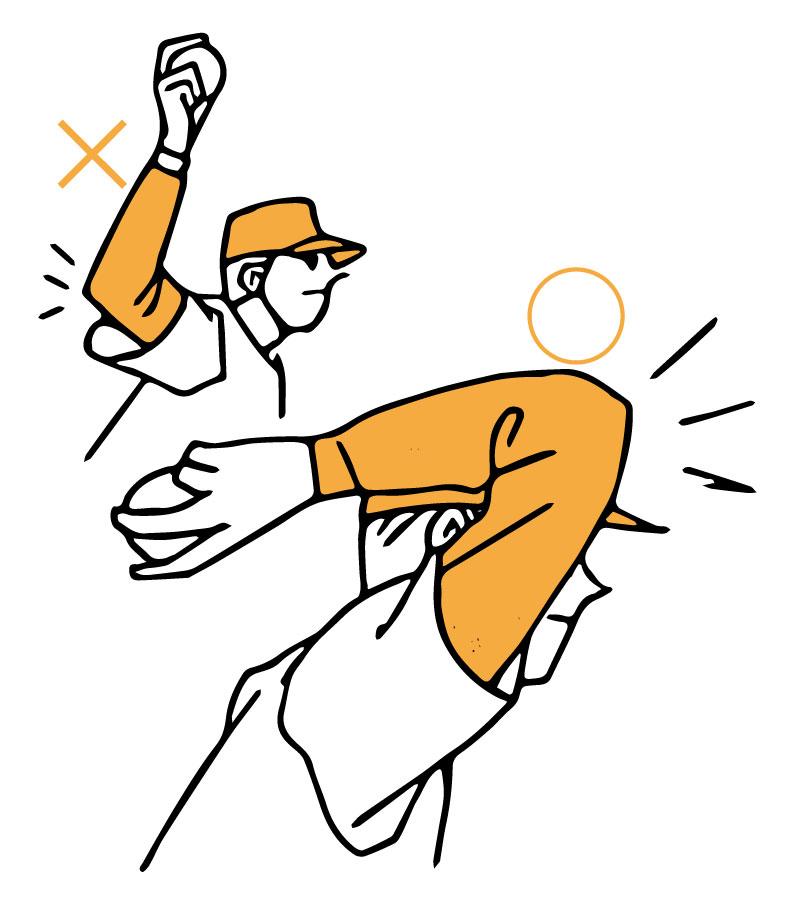 肘から先にリリースしてコントロールを安定させているピッチャーのイラスト