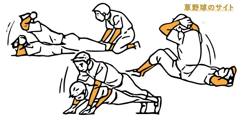 筋力トレーニングをするピッチャー