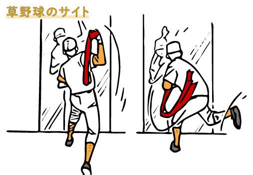 シャドウピッチングを行う投手