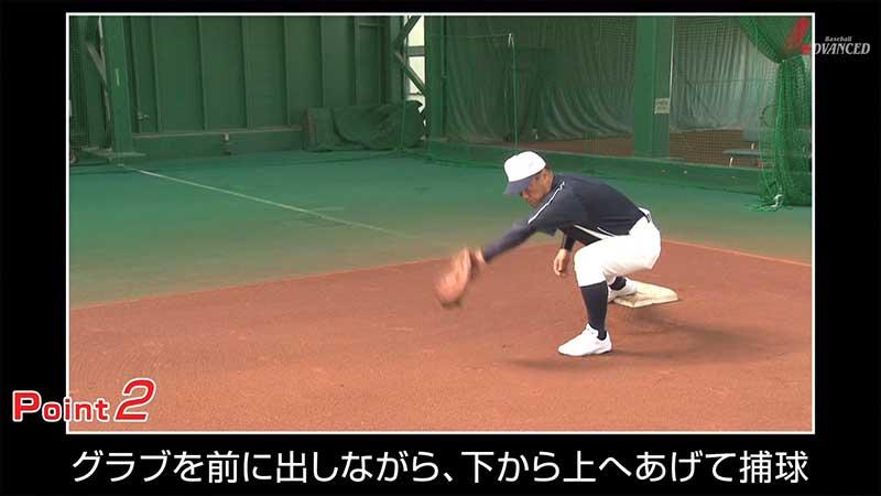 ショートバウンドを捕球するファーストの選手