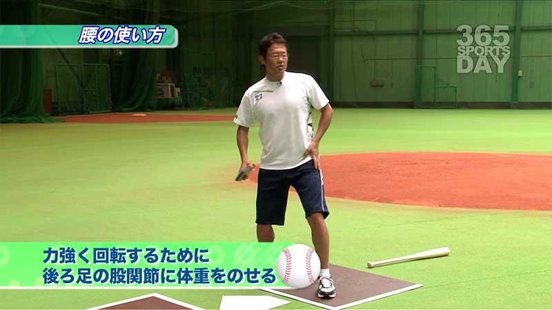 腰の使い方を話す古田選手