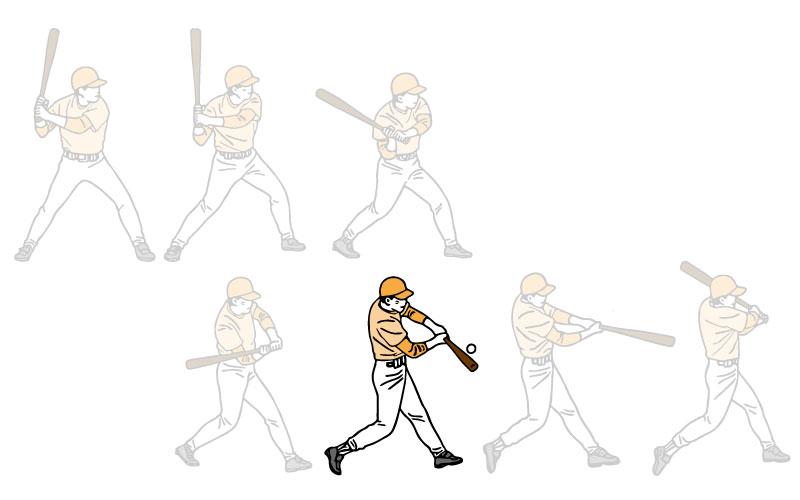 インパクトする打者のイラスト