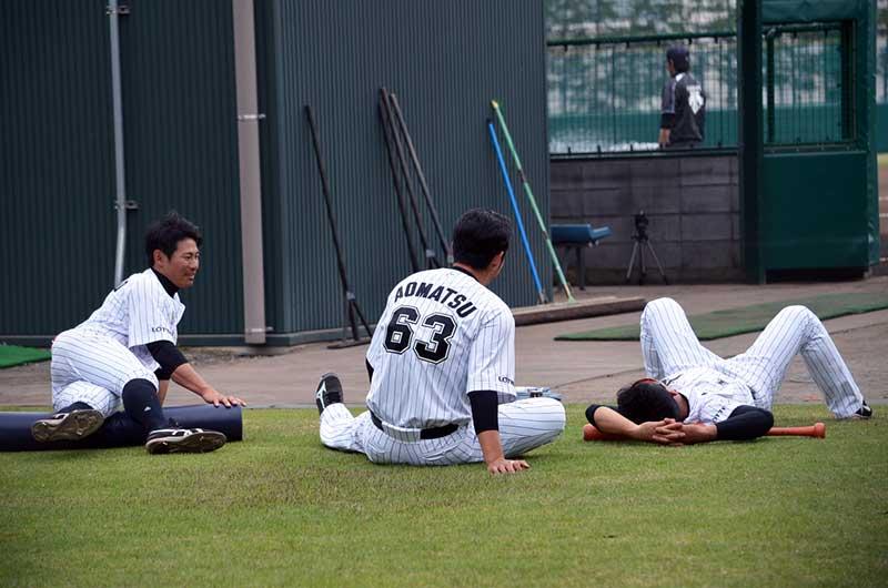 ストレッチを行う阪神タイガースの選手