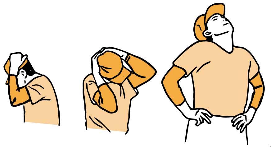 首のストレッチを行う男性のイラスト