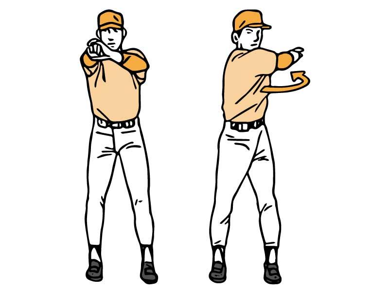 肩と背中のストレッチを行う男性のイラスト