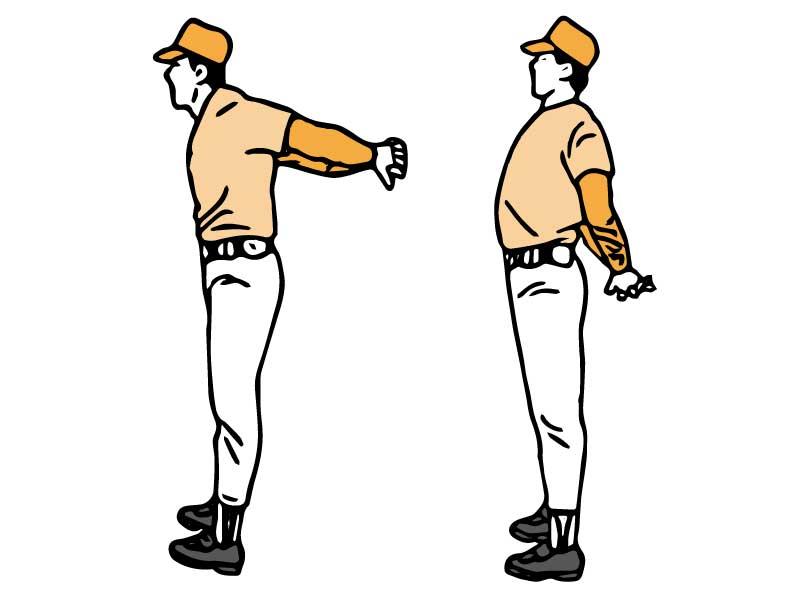 肩と腕のストレッチを行う男性のイラスト