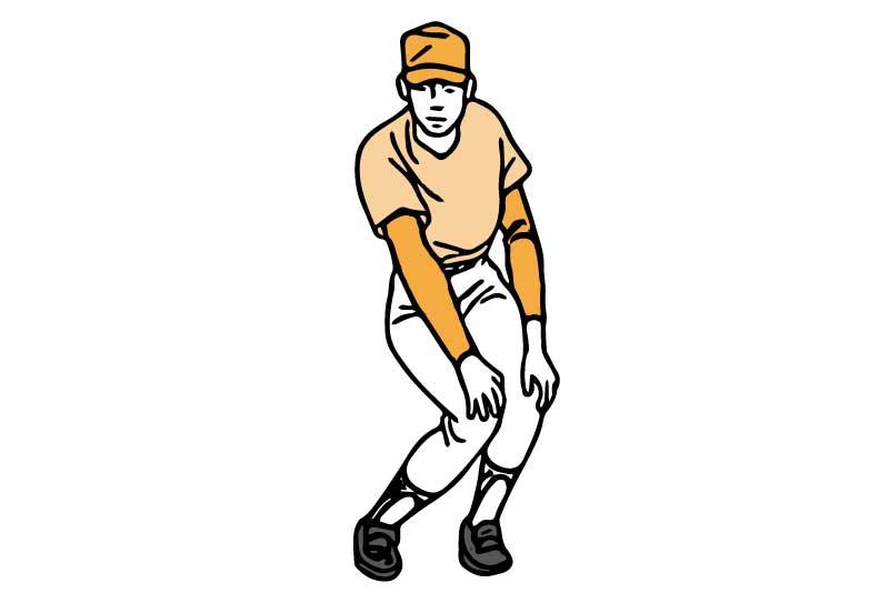 膝のストレッチを行う男性のイラスト