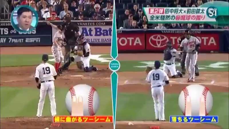 田中 将大選手の2種類のツーシームの握り