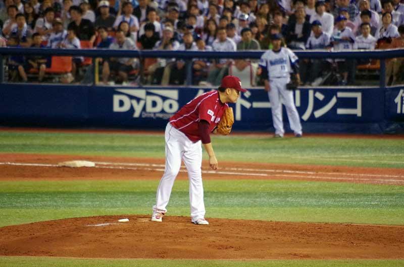 田中 将大選手の投球前のサイン交換