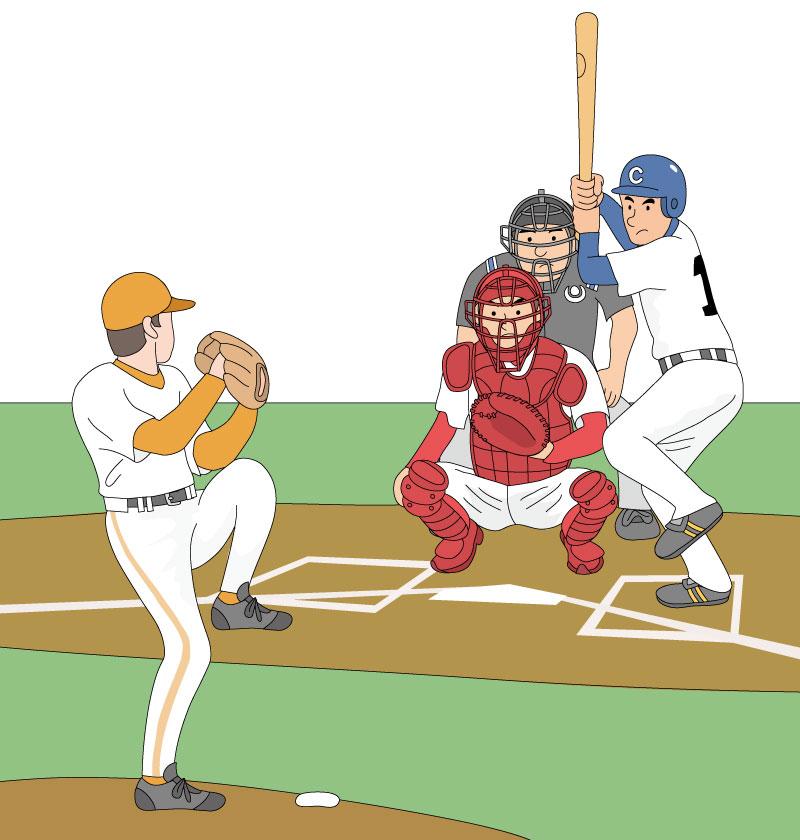 ボールを投げるピッチャーとキャッチャーのイラスト