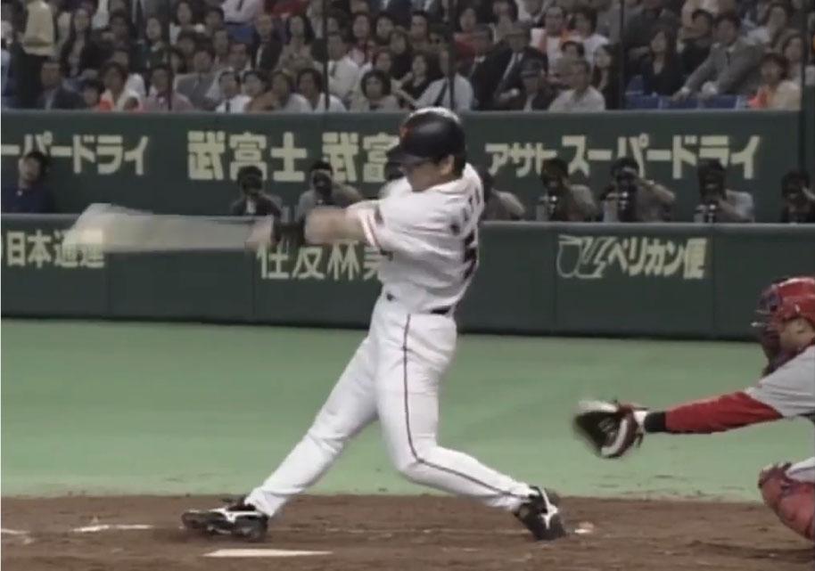 松井秀喜選手のバッティングのフォロースルー