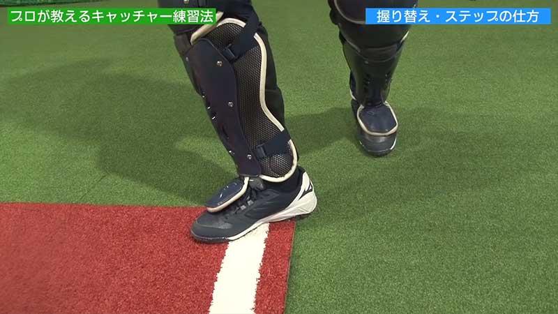 投げたい方向に対して垂直に出す右足