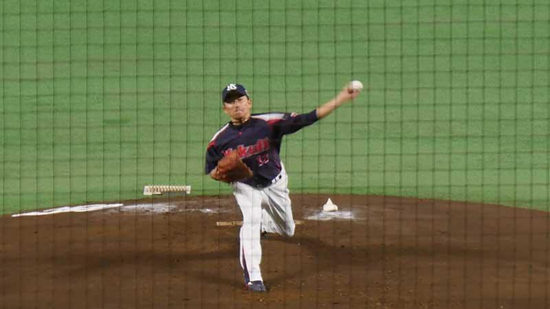 石川 雅規選手のカーブのフォロースルー