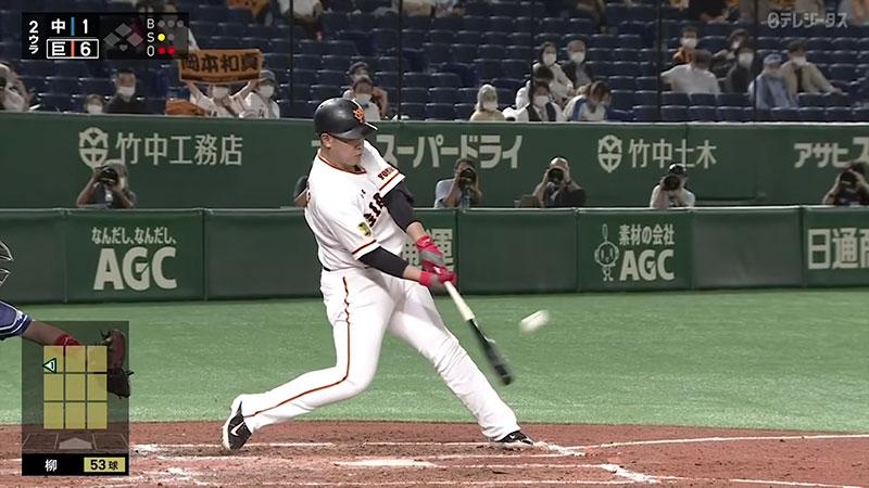 岡本和真選手のインパクト時のフォーム