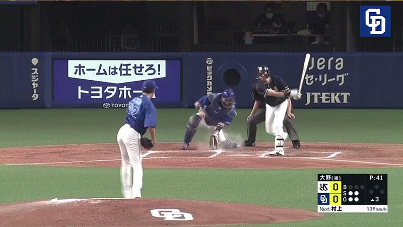 大野 雄大選手のフォークの連続写真