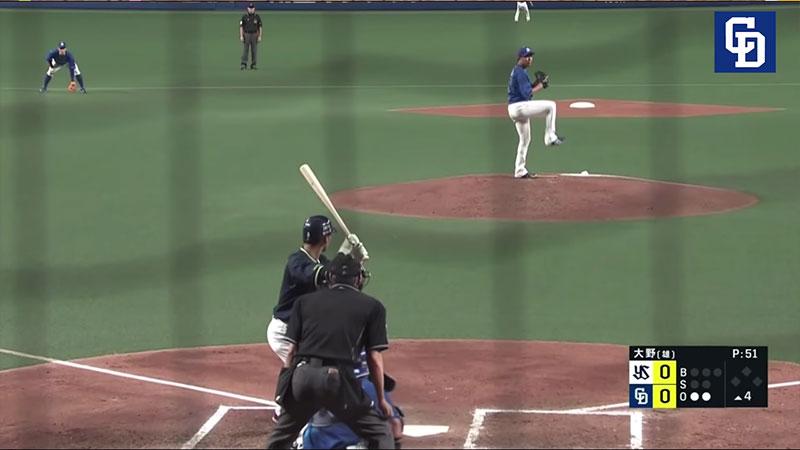 大野 雄大選手のツーシームの連続写真