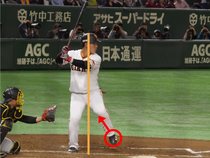 岡本和真選手のバックスイング